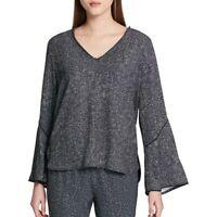 CALVIN KLEIN NEW Women's Printed Bell Sleeve V Neck Blouse Shirt Top TEDO
