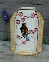 Antique ARt deco 1930 French pottery Vase bird marked