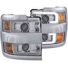 15-19 CHEVY SILVER 25/3500 ANZO CHROME PLANK STYLE SWITCHBACK HEADLIGHT
