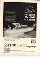 1961 PAPER AD Owens 25' Flagship Complete Galley Berth For 5 Motorboat Boat