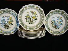 "Set 12 Mason's Ironstone Green Transfer Ware Manchu Dinner Plates 10 3/4"" dia"