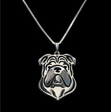 English Bulldog Pendant Necklace Silver Color ANIMAL RESCUE DONATION
