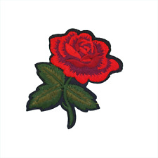 Rose Patch —Iron On Badge Embroidered Motif — Love Roses Flower Red