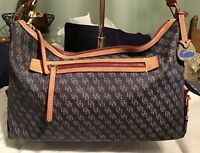 Dooney Bourke Leather & Blue Denim DB Signature Logo Hobo Slouch Shoulder Bag