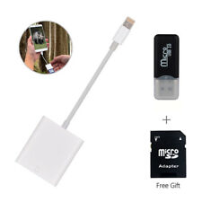 2 in 1 Lightning SD Card Cam Reader Adapter Data Transfer For iOS iPhone 7 bn7