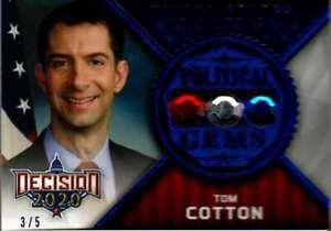 2020 Leaf Decision Political Gems Blue Relic #G59 Tom Cotton 3/5