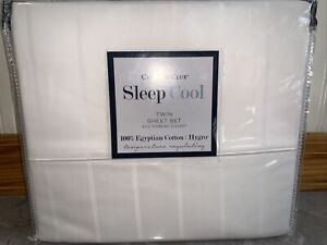 CHARTER CLUB TWIN COTTON SHEETS WHITE SLEEP COOL 400 thread count 100% Egyptian