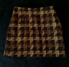 Vintage Handmade Brown Wool Skirt Fully Lined Size 10