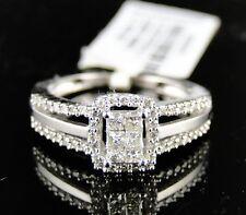 14K LADIES WOMENS WHITE GOLD PRINCESS CUT DIAMOND BRIDAL ENGAGEMENT RING SET