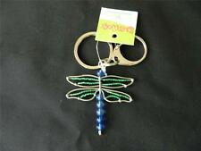 Dragonfly Green Glass Beads Beaded Wire Beadworx Keychain Key Ring Nwt Handmade