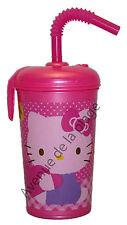 Verre avec paille Hello Kitty en plastique pour enfant + prénom, gobelet neuf
