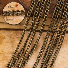 2m x  Antique Bronze Brass Curb Chain, Oval Chain (3.35  x 2.80mm) 050