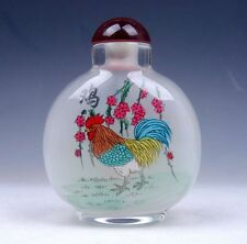 Peking Glass Inside Zodiac Sign Rooster Hand Painted Large Snuff Bottle FengShui