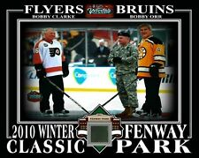 BOBBY ORR & BOBBY CLARKE 2010 WINTER CLASSIC 8x10 PHOTO W/ FENWAY PARK SEAT