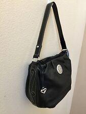 NEW Brighton Handbag Shoulder Bag  Black Leather Scroll With Crystals  NWT