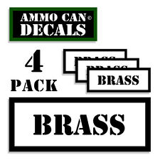 "BRASS Ammo Can Decals Ammunition Ammo Can Labels - 3""x1.15"" stickers 4 pack WT"