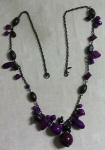 "Premier Designs Gun Metal Gray Chain Multi-Tone Purple Plastic Bead 28""Necklace"