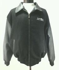 Mens Appalachian Pacific Bell Leather Varsity jacket Black Medium Vintage Rare!!