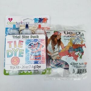 Create Basics Tie Dye Kit Trial Size 18 pc Kit Turquoise Blue Red Extra Bands