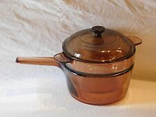 CORNING WARE VISIONS COOKWARE AMBER 1.5 L DOUBLE BOILER SAUCE PAN PYREX V-1.5-C
