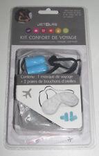 Kit Confort Voyage Masque Nuit Sommeil + 2 Paires Bouchons Oreilles Bleu NEUF