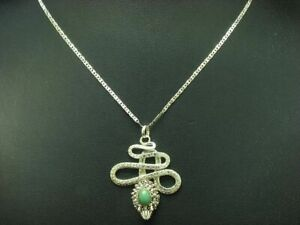925 Sterling Silver Chain & Snakes Pendant with Turquoise Imitation Trim /