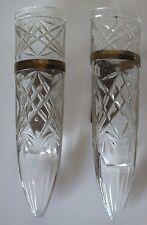 Pair ( 2 )Vintage Antique Car Automobile Glass Car Vases Brass Mounts