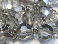 "† VINTAGE STERLING SMOKEY ""MIRROR"" GREY GLASS ROSARY ROSARIO 33 1/2"" NECKLACE †"