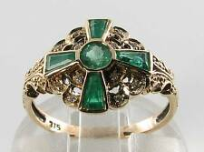 Lovely 9K 9 KT ORO Colombiano Smeraldo E Diamante Art Deco INS Anello libero Ridimensiona