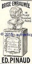 PUBLICITE PARFUM ED PINAUD BRISE EMBAUMEE VIOLETTE DE 1904 FRENCH AD PUB RARE