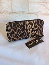 Clarks Leopard Animal Print Envelop Zip around Wallet with Tags