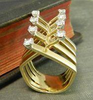 Signed Artist Jack Gutschneider Modernist 14K Yellow Gold & Diamond Ring