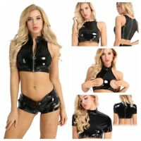 New Women's Ladies Leather Sleeveless Backless Cami Bra Crop Top Vest Clubwear