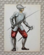 Dessin et Aquarelle - Costume Théâtre Soldat Charles IX - B. Duquesnoy