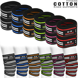 DBXGEAR Weight Lifting Knee Wraps Straps Elasticated Cotton Gym Workout Bandages