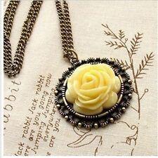 Women Vintage Acrylic Bronze Flower Pendant  Long Chain Necklace Jewelry W2F