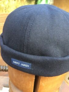 Saint James Navy Skull Cap. Size adjustable Marin Miki A  soft & warm wool