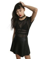 Midnight Hour Black Mesh Top Shirt Gothic Punk Alternative Grunge Hot Topic XL