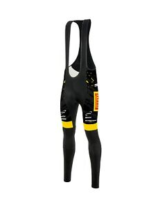 Trek-Pirelli 2020 Thermofleece Cycling Bib Tights with EMax Pad by Santini