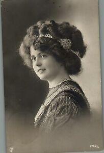 Early 1900s German Woman Black And White Portrait RPPC Photo Postcard Ephemera