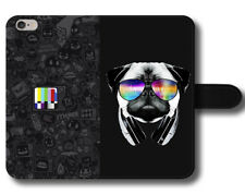 Pug Glasses Colours Tv Channel Funny Quotes Black Fonts Leather Phone Case Cover