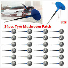 24Pcs Rubber Tyre Tire Puncture Repair Wired 4mm Plug Mushroom Patch Blue TS
