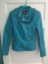 Womens blue guess leather jacket