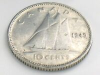 1949 Canada Ten 10 Cent Silver Dime Circulated Canadian George VI Coin I572