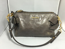 Authentic MIUMIU Vitello Lux Grey Leather Shoulder Bag Bow Evening Bag