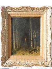 19ème siècle CHEMIN FORÊT Tableau Peinture Huile sur panneau PAYSAGE XIX°