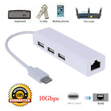 USB-C USB 3.1 Type C to USB RJ45 Ethernet Lan Adapter Hub Cable for Macbook PC