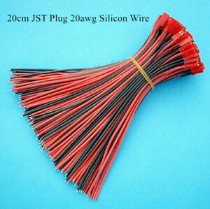 100Pcs 20cm JST 2P Connector Male Plug Cable 20awg Silicon Wire For LED