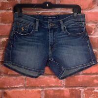 RALPH LAUREN SPORT Womens Medium Wash Distressed Denim Blue Jean Shorts Size 27