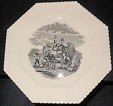 "c1850 Copeland Bat Printed ""Haying"" Cart, Horse Workers Octagonal Plate"